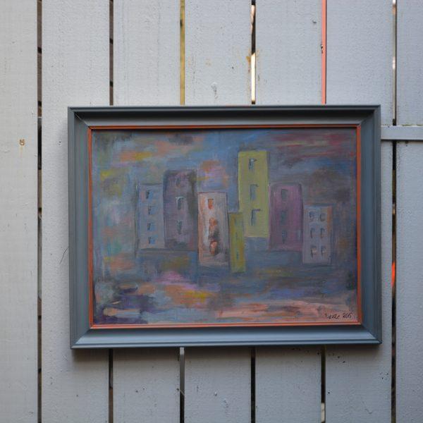 57-x-44-innrammet-akryl-paa-plate-tittel-hus-i-skumring-pris-2000-nok